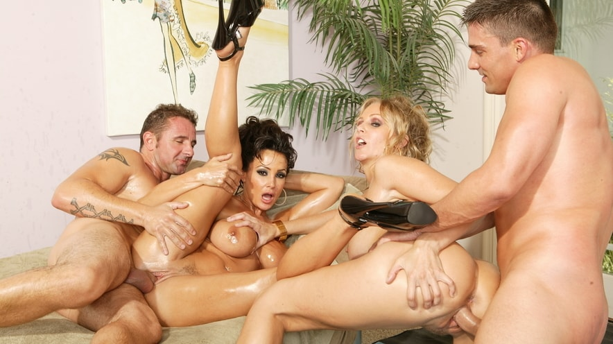 Lisa Ann And Julia Ann Have A Fourway Fuckfest